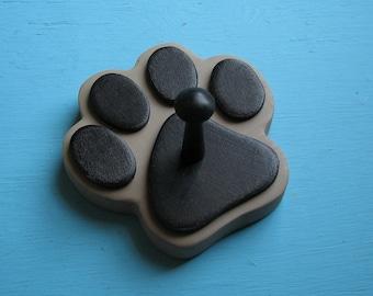 Dog Leash Holder TAN Fawn - Wood Paw Print Peg Hook