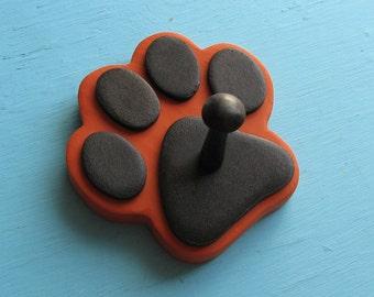Leash Holder RUST Copper Dog - Wood Paw Print Peg Hook