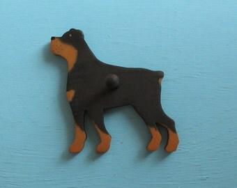 Rottweiler Rottie Dog - Handpainted Wood Leash Holder