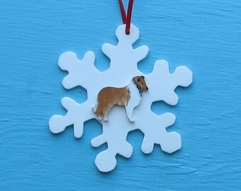 SALE Snowflake Dog Collie - Handpainted Wood Ornament Decoration