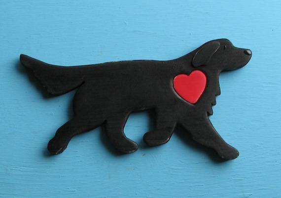 Flat Coat Retriever Rustic Heart Dog