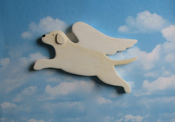 White Cream Lab Retriever Angel Dog Rustic Wood Decoration