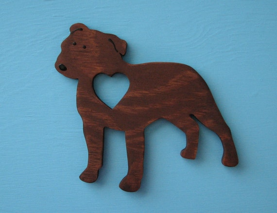 Pit Bull Terrier Brown Brindle Wood Rustic Heart Dog