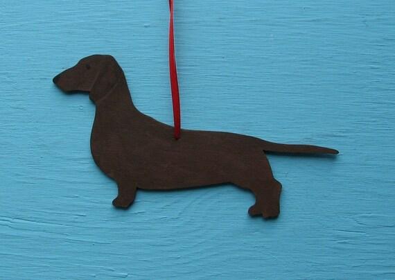 Dachshund Dog - Handpainted Wood Ornament Decoration