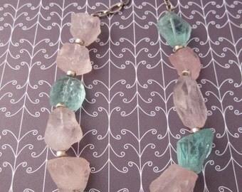 Quartz Necklace, Quartz Nugget Necklace, Rock Crystal Candy Necklace, Cotton Candy Necklace