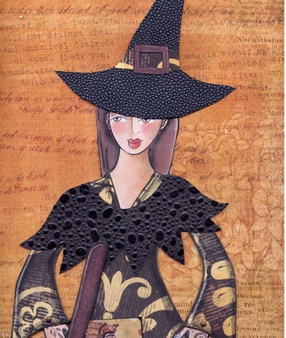 witch and broom paper doll pdf pattern download