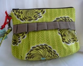 Pleated wristlet / gadget bag / pouch with ruffles and detachable strap---Amy Butler