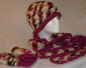 CROCHETED BEANIE, DECORATIVE SCARF AND GLOVES(MITTENS) SET IN MULTICOLORED CHERRY CHIP AND MAGENTA