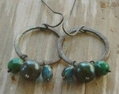 patina halo earrings - green & blue pearls, czech glass. oxidized brushed sterling silver by val b.