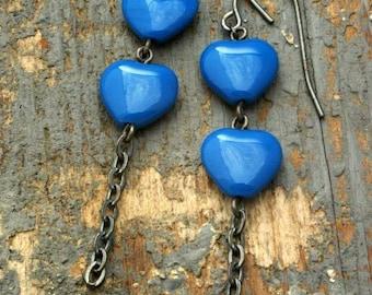 true blue hearts earrings. czech glass on oxidized sterling silver chain by val b.
