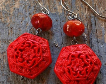 totally red cinnabar earrings with czech glass on oxidized sterling by val b.
