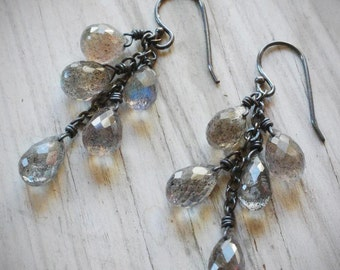 stormy sky earrings. labradorite drops on oxidized sterling silver by val b.