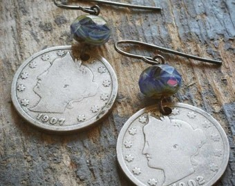 vintage liberty nickel earrings - blue. antique coin & czech glass on oxidized sterling silver by val b.