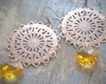gypsy copper filigree and vintage amber crystal earrings by val b.