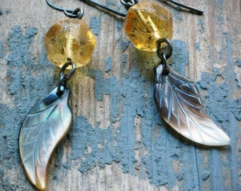 golden vintage chandelier crystal and feather earrings on oxidized sterling silver by val b.