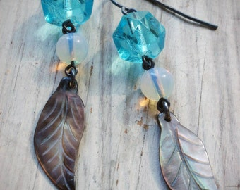 aqua vintage chandelier crystal and feather earrings on oxidized sterling silver by val b.