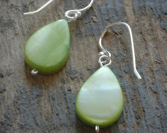 simple pale lime green shell drop earrings on sterling silver by val b.