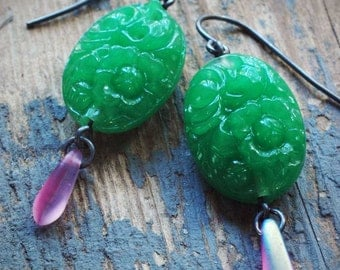 jade-green vintage pressed glass and pink czech glass dagger bead bauble earrings by val b.