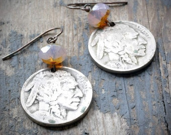 vintage indian head nickel earrings - pale pink. old coin with czech glass & oxidized sterling silver by val b.