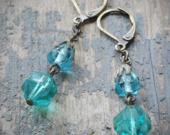 vintage teal & aqua rosary glass beads and brass dangle earrings. vintage assemblage by val b.