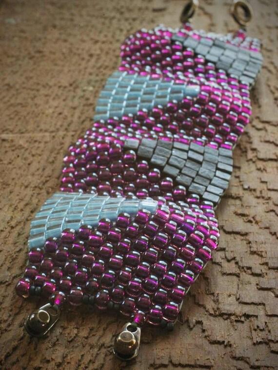 Peyote Wedge Bracelet Purple Amp Blue Japanese Seed Beads Woven