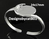 Silver Plated Brass Bangle Bracelet Cabochon Setting