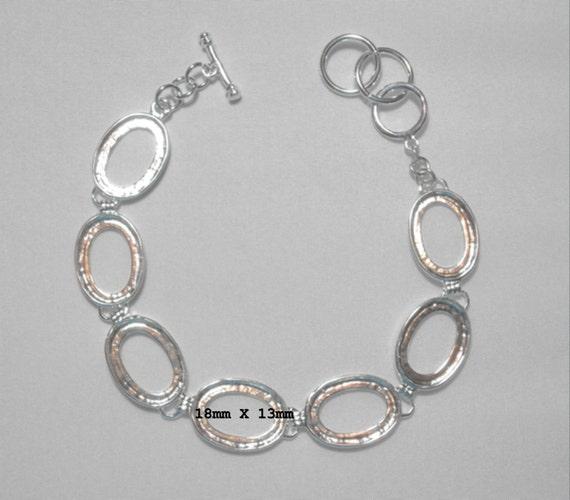 """Silver Plated Brass Bracelet Bezel Cabochon Setting - Oval  8"""""""