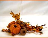 Miniature Dollhouse Autumn Floral Arrangement With Pumpkins