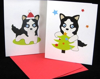 Husky Holiday Greeting Cards CASK001 (2 designs)