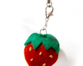 Felt Strawberry Keychain, Zipper Pull, Lariat for Purse and Bag
