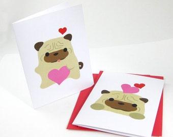 10 Pug Valentines Cards CABZ010