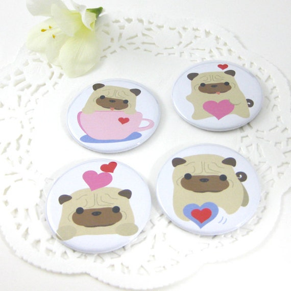 Pug Magnets -  Ball-Z the Pug Valentines  ( 2.25 inch ) MALS016