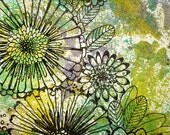 Original Monotype and Ink Drawing - Bloom