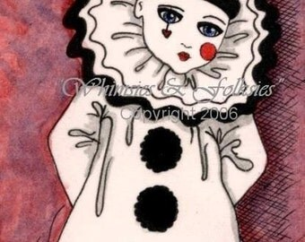 ACEO ATC Artist Trading Card Print - Pierrot French Clown