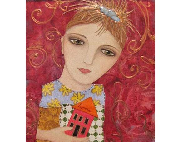 Original Folk Art Painting - Woman Girl Bird Home House Quilt