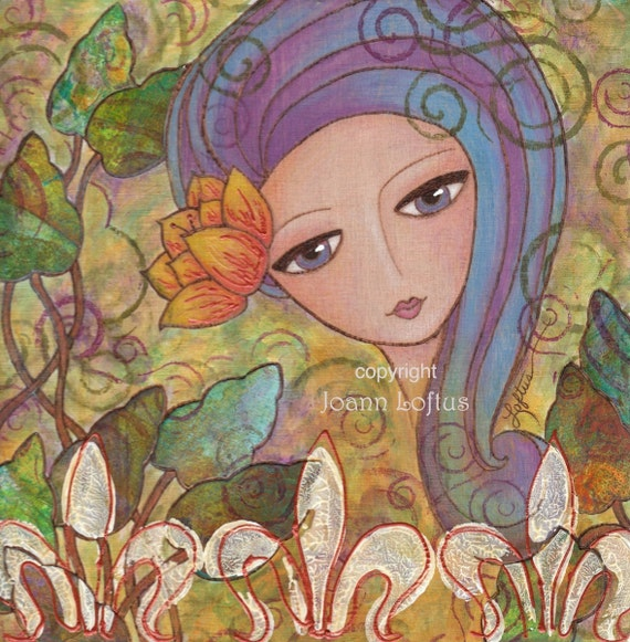 Secret Garden Whimsical Girl Folk Art Print