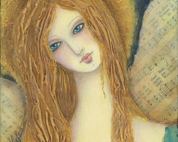 Guardian Angel Folk Art Print - Mixed Media Painting Whimsical Woman Girl