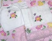 Happy Spring Flowers Boutique Baby Onesie and Burp Cloth Set