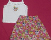 Boutique Day of the Dead Skirt and tee shirt set