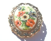 Wildflowers Floral Cameo Brooch Pin