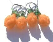 Orange Pineapple Stitch Markers - set of four - US10