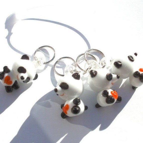 Valentine Panda Stitch Markers - sitting - set of four - US10