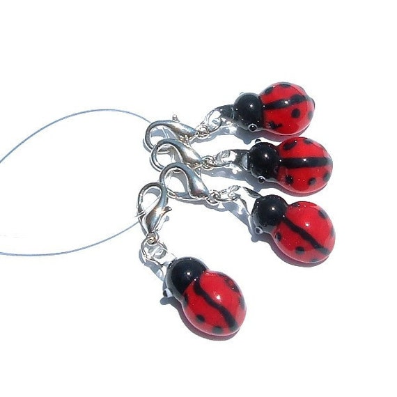 Lively Ladybug Crochet Stitch Markers - set of four