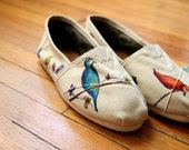 Custom TOMS Shoes - Birds and Wildflowers All Over