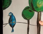SALE - Lone Bird and His Trees - 8 x 10 print