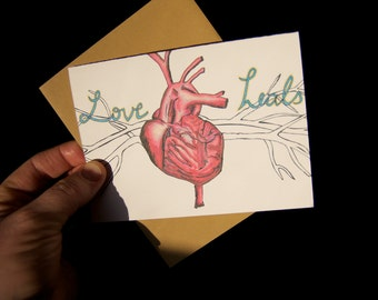 SALE - Love Heals - Single note card
