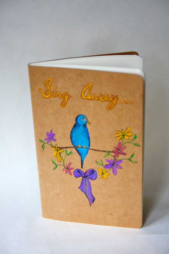 "Stocking Stuffer Moleskine ""Blue Bird and His Wildflowers"" - Handpainted"