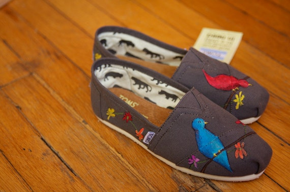 Birds and Wildflowers Custom TOMS Shoes