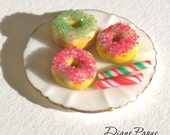 Christmas Donuts on a Porcelain Plate with gold trim - Dollhouse Miniature Food by Diane Paone