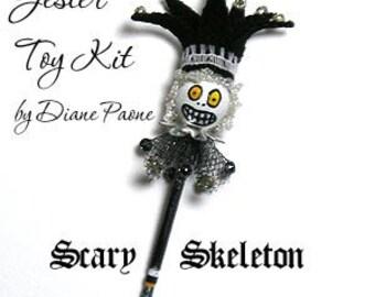 SKELETON Jester Puppet Toy Kit designed by IGMA Artisan Diane Paone - Dollhouse Miniature